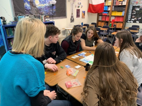 Grade 12 students playing Tabletop University