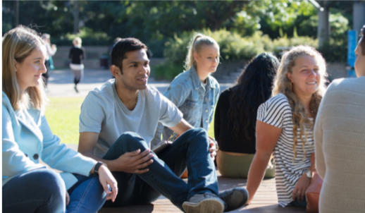 Pathways to Higher Education students relax on campus.