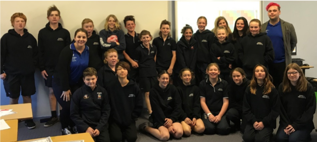 Year 8 students in the Future Me program pose for a group photo.
